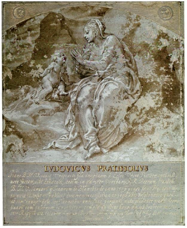 Il disegno di Lelio Orsi dal quale il Bertone trasse il soggetto per l'affresco
