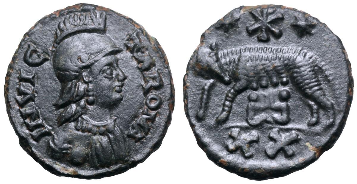 Venti nummi in bronzo per Roma a nome di Atalarico (526-534) con l'effigie di Roma elmata, la Lupa e i gemelli: l'iconografia classica incontra il potere barbarico