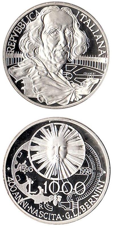La 1.000 lire in argento proof emessa dall'Italia nel 1998, 400° della nascita di Bernini