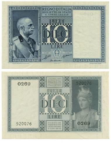 Il biglietto di Stato emesso nel 1935 con il re in alta uiforme e Minerva elmata al retro