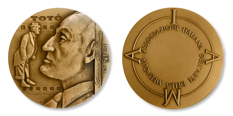 """""""Il principe e il comico"""", medaglia di Marcello Ripa per i 50 anni dalla morte di Totò (bronzo, mm 70)"""