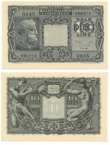Il biglietto di Stato da 10 lire emesso nel 1944