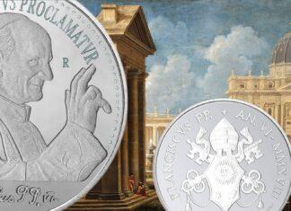 argentea 5 euro vaticana per papa Montini