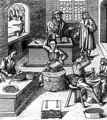 Non cambia molto dalla metà del Duecento a questa incisione, di inizio Cinquecento, che descrive l'attività di zecca