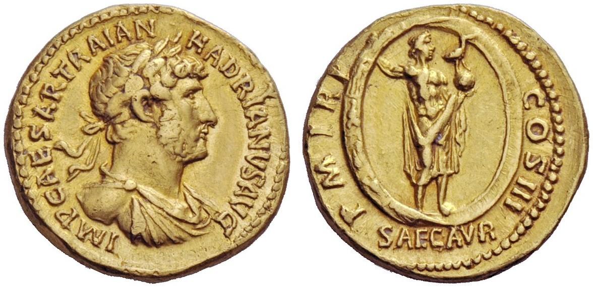 L'aureo di Adriano del 121 d.C.