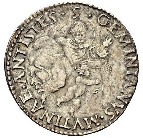 Rovescio del testone di Ercole I d'Este, duca III di Modena: san Geminiano salva il bambino caduto dalla torre della cattedrale