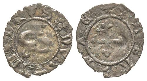 Amedeo VIII., 1391-1434. Bianchetto. MIR 149 (R8). Estremamente rara. Splendida. Base: 600 euro. Dall'asta di Gadoury (17 novembre 2018), n. 1448.