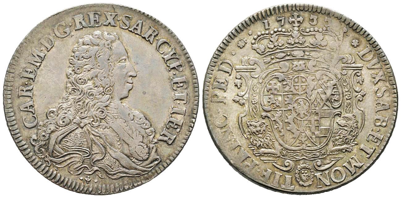 Carlo Emanuele III, 1730-1773. Scudo vecchio da 5 lire, Torino, 1733