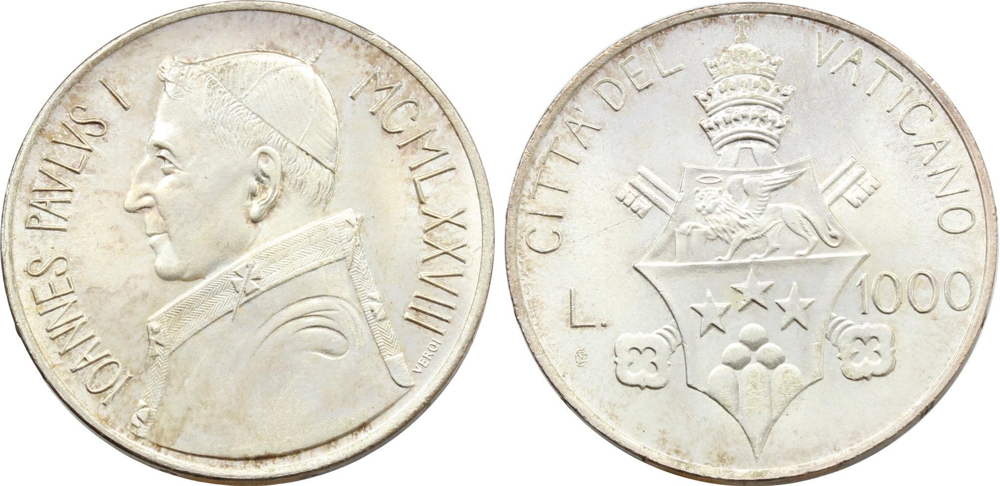 Le 1000 lire in argento che Karol Wojtyla, suo successore, volle per ricordare papa Luciani