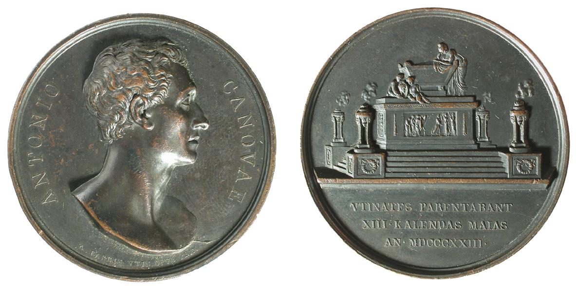 Fig. 2   1823. A. Fabris, Onoranze funebri per Canova a Udine (AE, mm 47; collez. Voltolina)