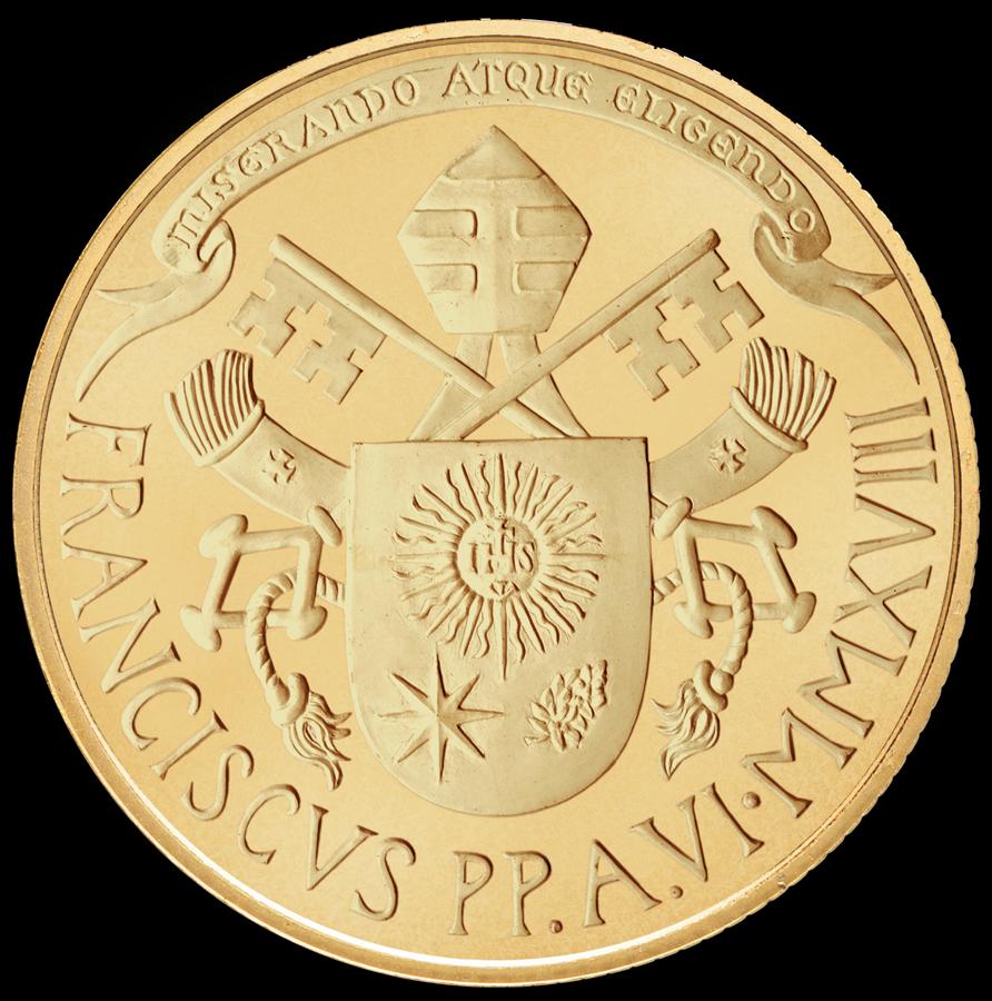 Una classica versione dello stemma di papa Francesco completa la moneta di questo sesto anno di pontificato
