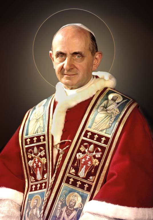 Una delle prime immaginette nimbate di san Paolo VI papa