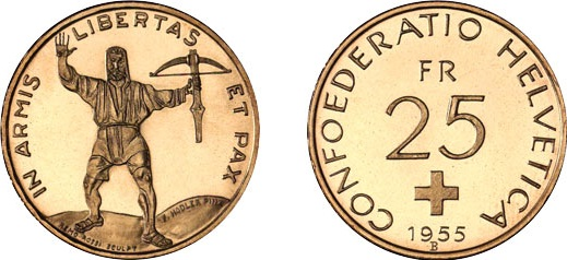 Una rara immagine della 25 franchi al tipo dell'eroe elvetico coniata negli anni '50 e mai entrata in circolazione