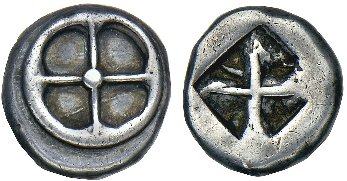 """Didracma ateniese di tipo """"araldico"""" del 545-515 a.C. con ruota e quadrato incuso"""