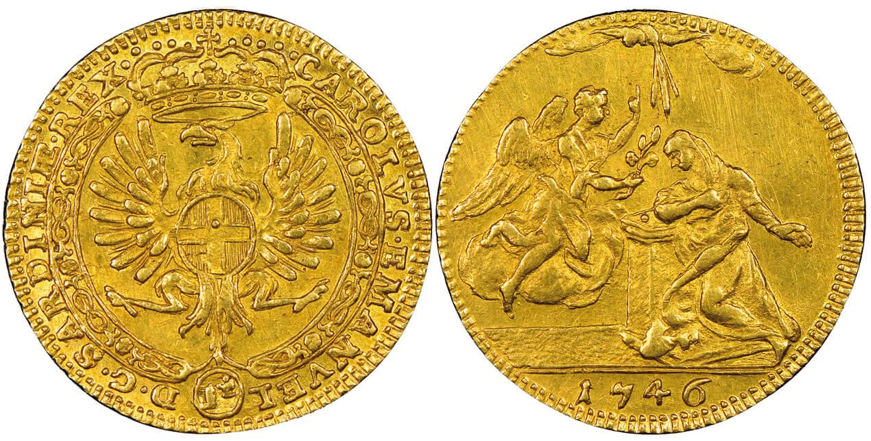 Carlo Emanuele III, 1730-1773. 4 zecchini dell'Annunciazione, Torino, 1746.