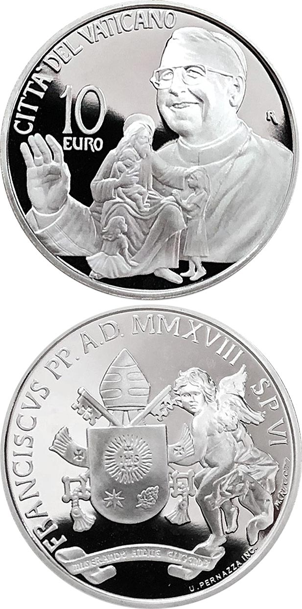 Ecco come appare la bella 10 euro vaticana emessa il 4 ottobre e modellata da Mariangela Crisciotti