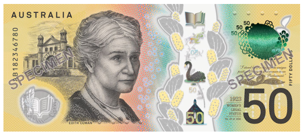 """Il retro della nuova banconota australiana - Due attivisti per i diritti civili sui rinnovati 50 dollari """"high tech"""" d'Australia"""