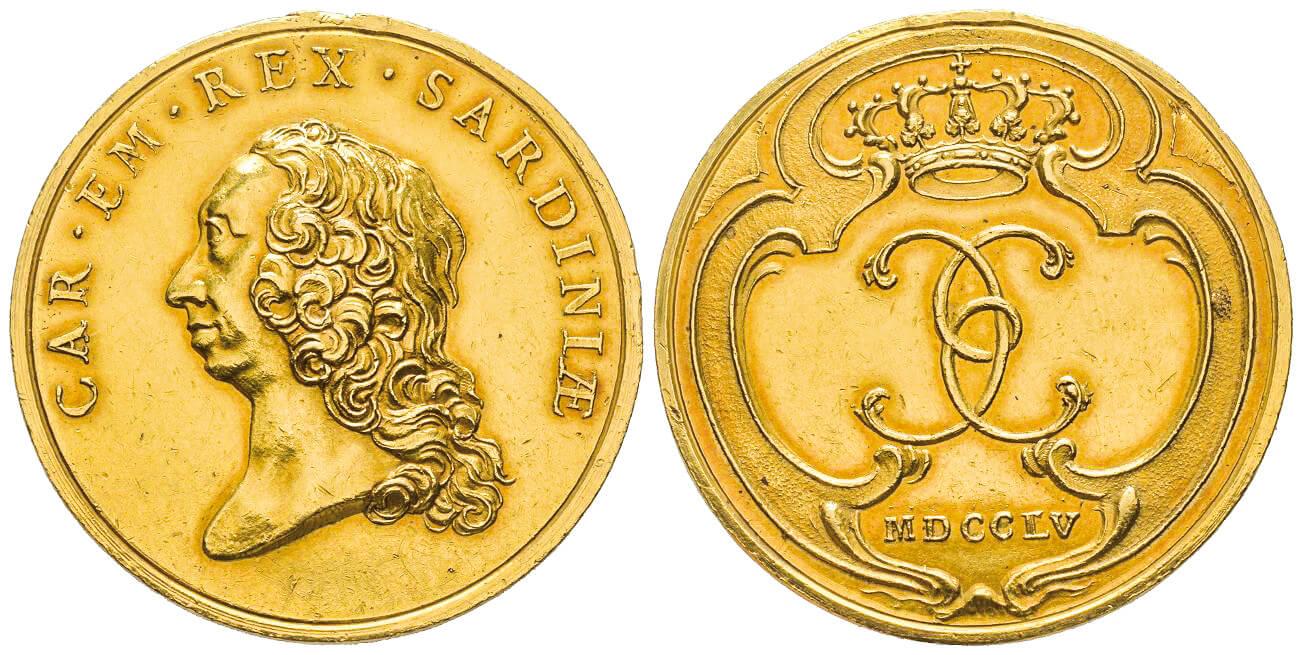 Carlo Emanuele III, 1730-1773. Medaglia d'oro, Torino, 1755