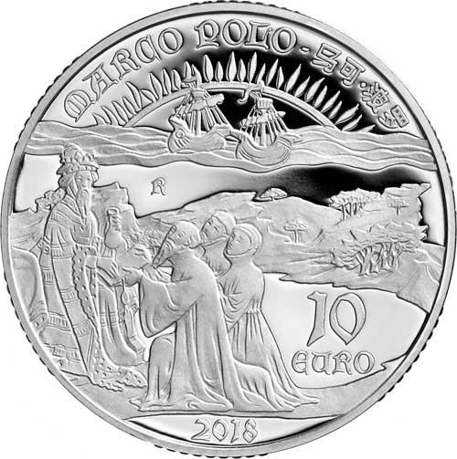 I Polo rendono omaggio al Gran Khan in una composizione di elementi che simboleggiano i loro viaggi - Marco Polo all'esplorazione di una nuova rotta numismatica