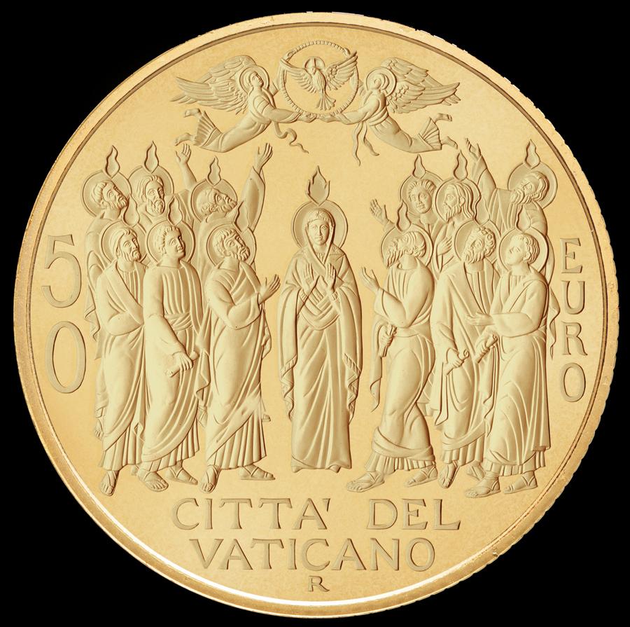 Simmetria e classicismo, la figura centrale della Vergine e della Colomba pentecostale