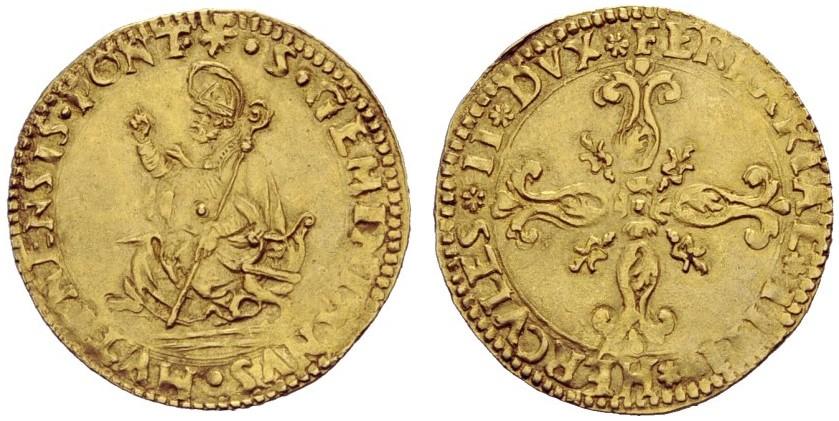 Ercole II d'Este, 1534-1559. Scudo d'oro del sole senza data con al dritto san Geminiano con gli attributi da vescovo e benedicente