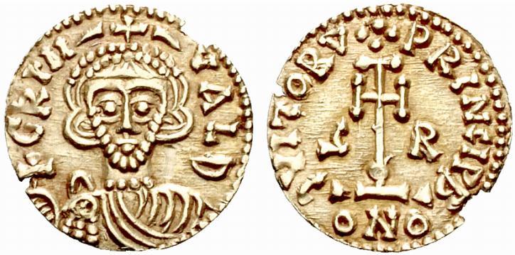 Tremisse in oro per Benevento a nome del duca Grimoaldo III coniato tra il 792 e il 796