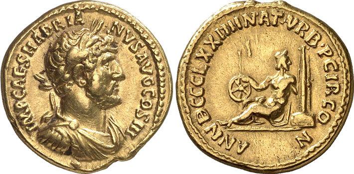 L'aureo del 121 d.C. che cita in modo esplicito le corse fatte organizzare da Adriano