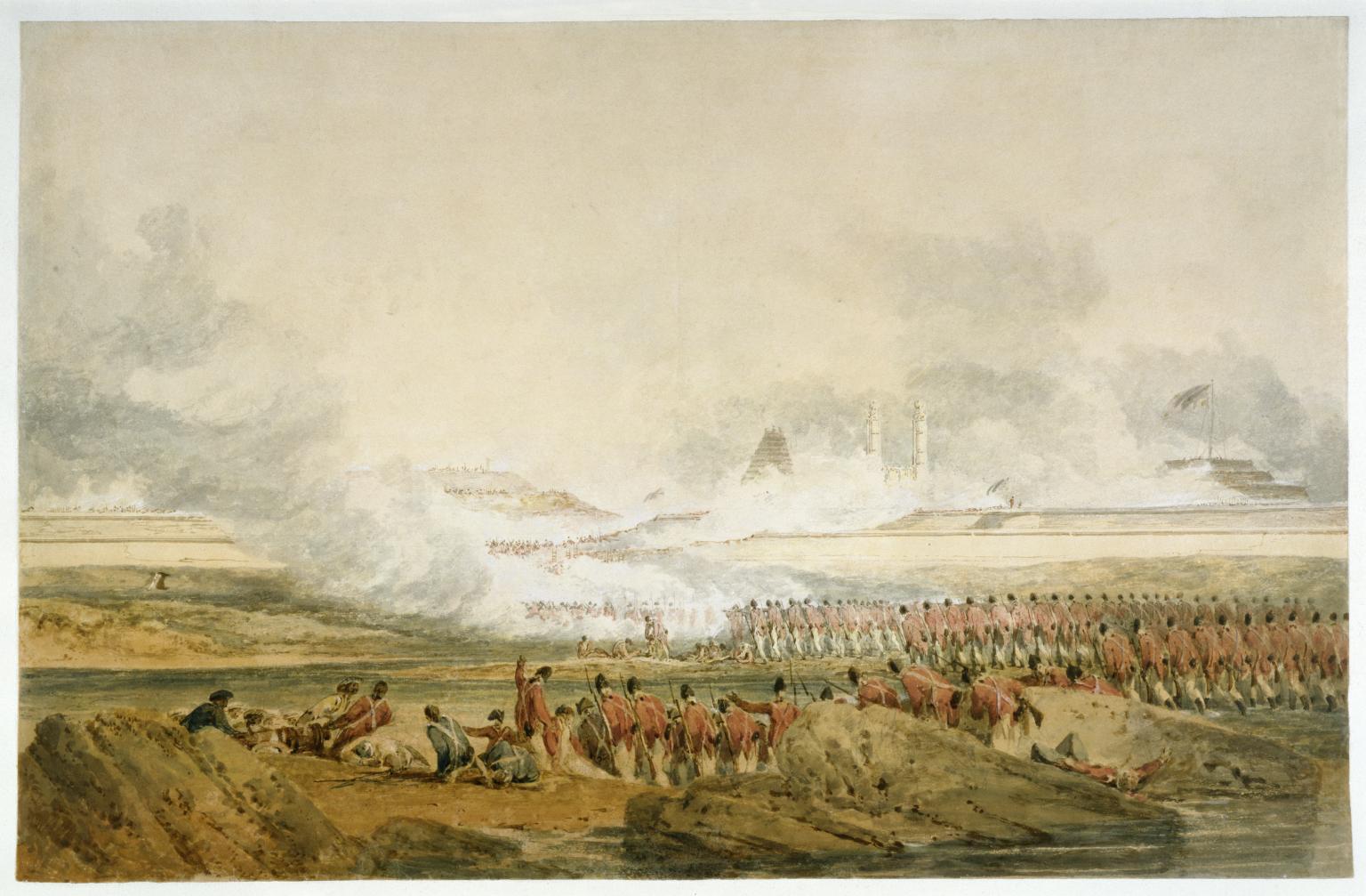 Fig. 5 - L'assedio visto da J. M. W Turner in una celebre stampa da cui fu tratto il roverscio della medaglia