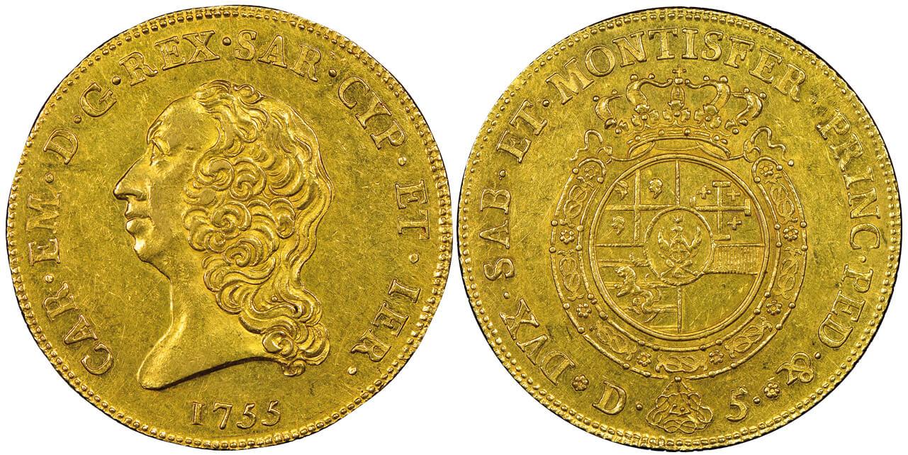 Carlo Emanuele III, 1730-1773. Carlino da 5 doppie, Torino, 1755.