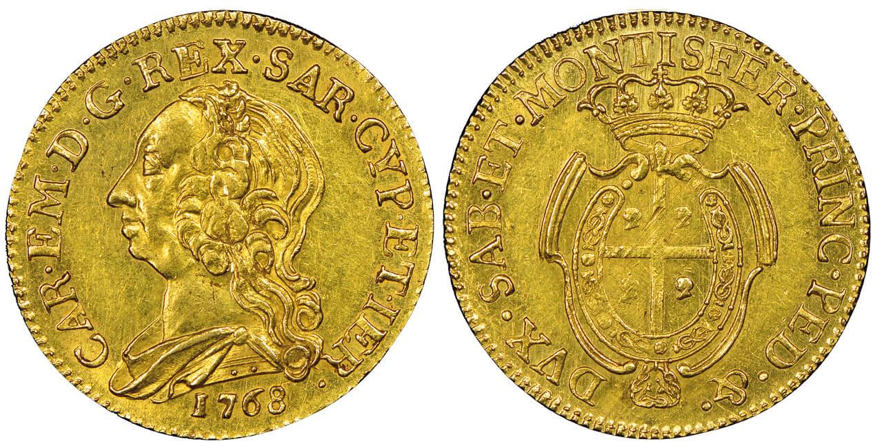 Carlo Emanuele III, 1730-1773. Mezzo carlino sardo da doppiette 2 e mezzo, Torino, 1768