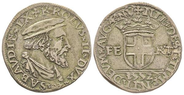 Carlo II, 1504-1553. Testone, VI Tipo, Aosta.