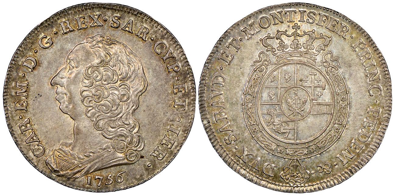 Carlo Emanuele III, 1730-1773. Scudo nuovo, Torino, 1756.