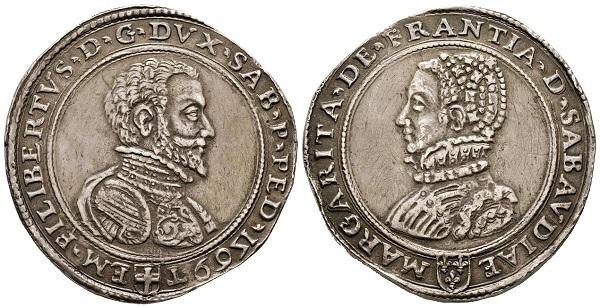 Emanuele Filiberto, 1553-1580. Scudo da 3 Lire, Torino, 1569, con Margherita di Francia.