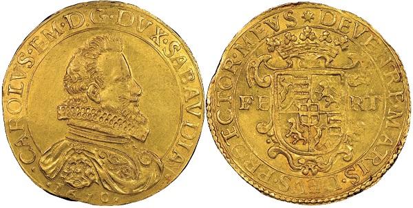 Carlo Emanuele, 1580-1630. 10 Scudi d'oro, II Tipo, Torino, 1610.