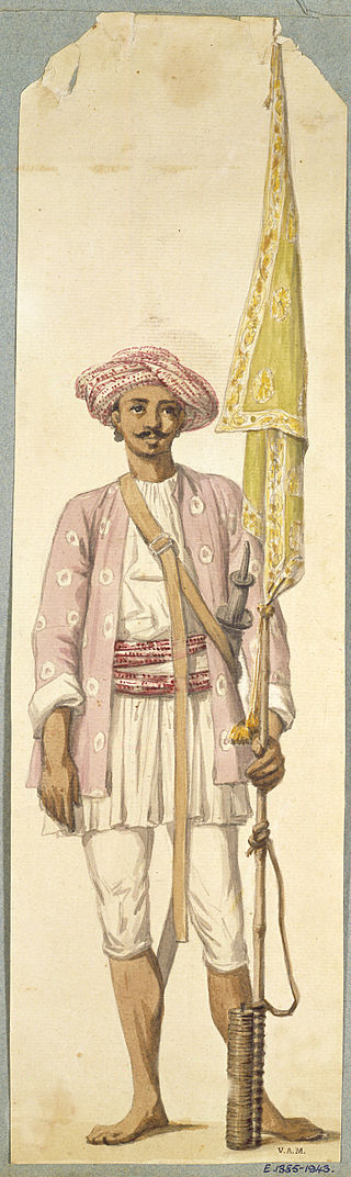 Fig. 3 - Incisione di R. Home: soldato indiano della fanteria di Typu con uniforme e turbante che tiene un razzo