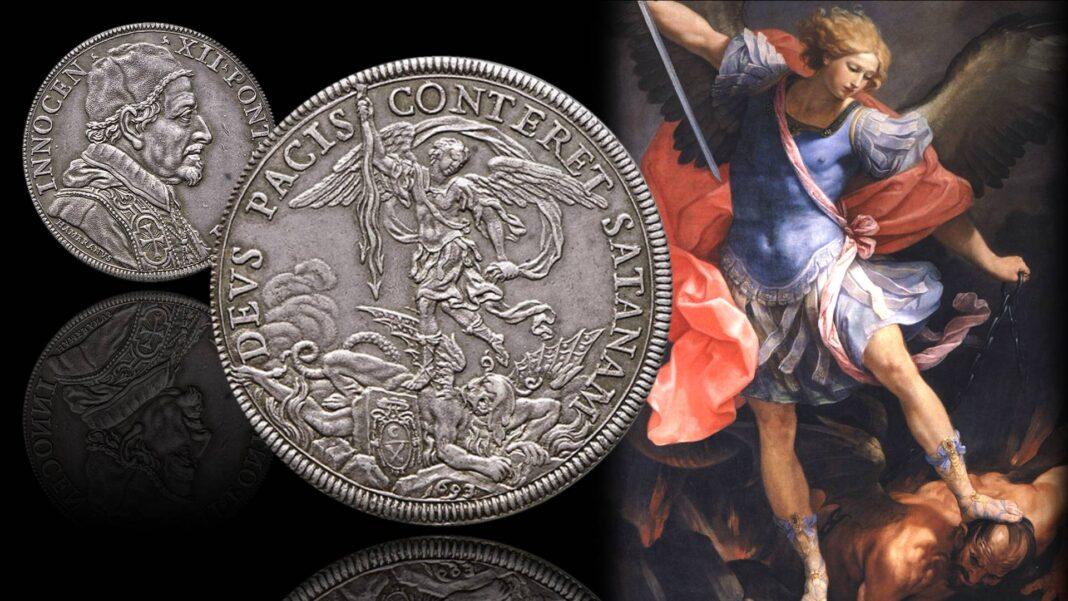 """Una piastra papale """"hommage a la France"""" ispirata a Guido Reni"""