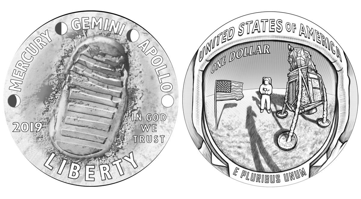 Due immagini iconiche della prima missione lunare sulle monete USA previste per il 50° di quel lontano 1969 - fist man on the moon