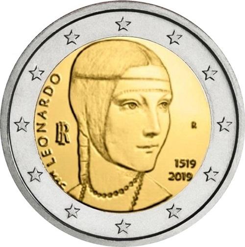 """Ecco come appare, il """"Gazzetta Ufficiale"""", la faccia nazionale dei 2 euro leonardeschi previsti per il 2019"""