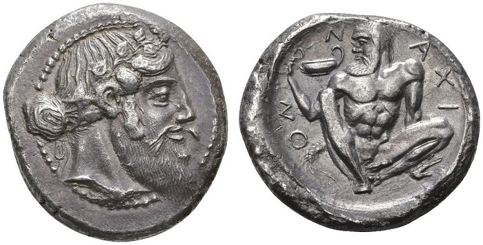 Naxos, tetradramma, intorno al 461-460 a.C.
