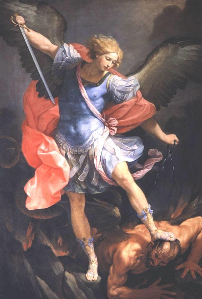 Il celeberrimo dipinto di Guido Reni con l'arcangelo Michele che sconfigge il demonio