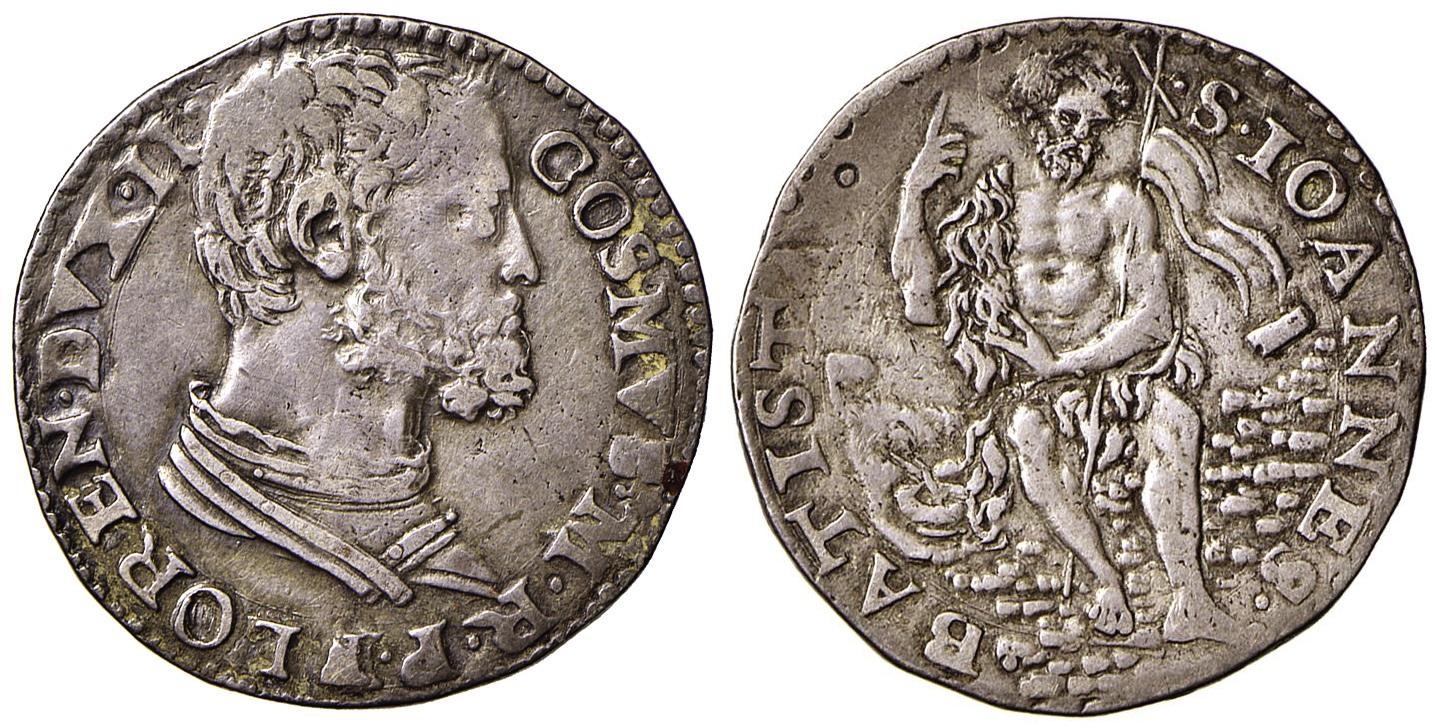 Testone da 40 soldi di Cosimo I de' Medici, estremamamente raro (1537-1557): lotto 322, qSpl, stima € 600/800