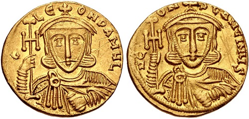 Solido di Leone III (nel R/ Costantino V). Oro, gr. 4,41; mm. 19; h. 6