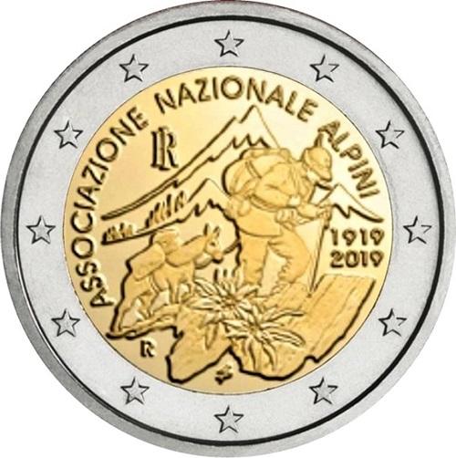 2 euro d'Italia 2019 con Leonardo da Vinci - dovuta apparire la 2 euro per l'Associazione Nazionale Alpini