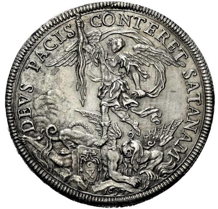 La versione del san Michele in moneta firmata Giovanni Martino Hamerani