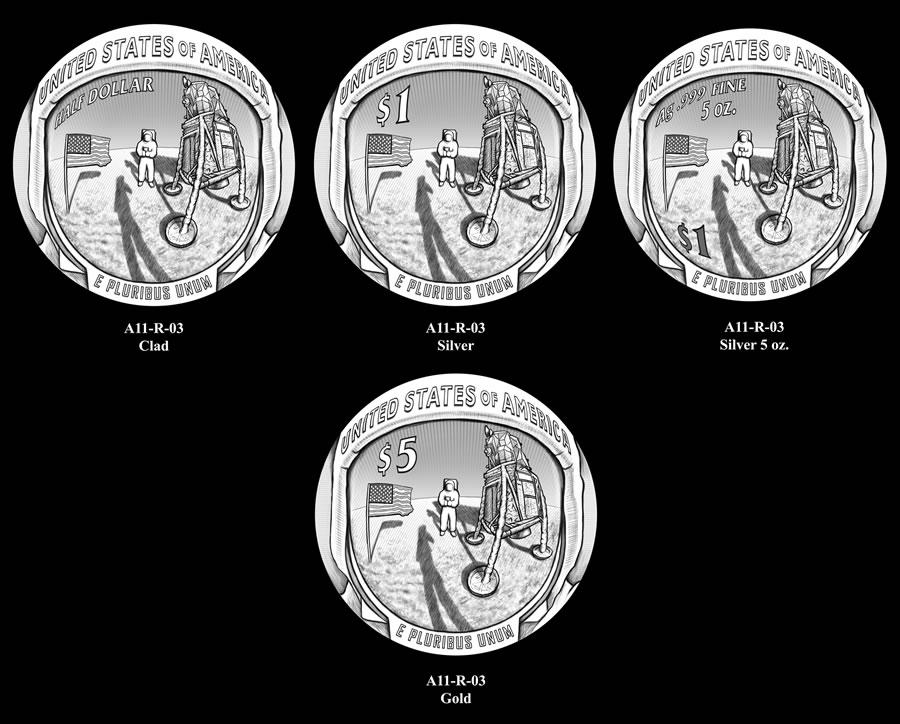 Le monete del 50° dell'uomo sulla Luna con le quattro denominazioni previste