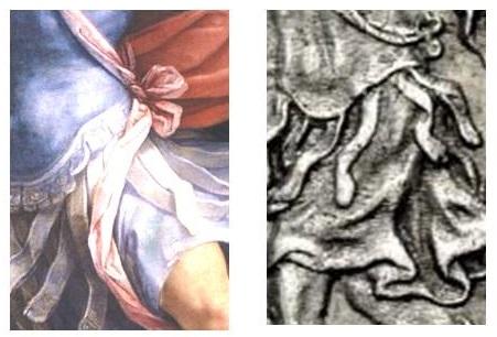 """Dettaglio dell'armatura, del fiocco che la decora e del """"cingulum"""""""