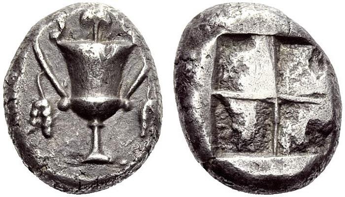 Naxos (Cicladi), Statere, 520-490 a.C..- Dioniso il dio dell'estasi