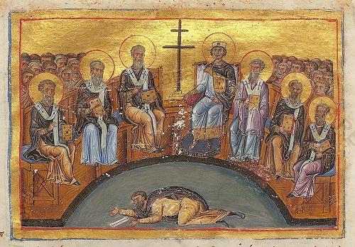 Costantino VI presiede, nel 787, il Secondo Concilio di Nicea in una miniatura del Menologio di Basilio II, XI sec. (Biblioteca Apostolica Vaticana, Roma)