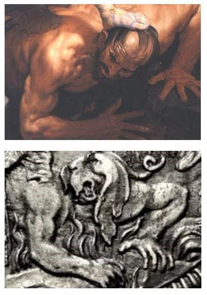 Il demonio con le fattezze del cardinale Pamphili nel quadro di Guido Reni e con una fisionomia molto più classica (con tanto di corna) sulla piastra di papa Pignatelli