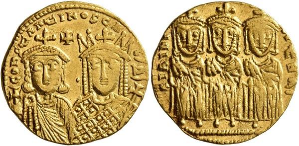 Solido di Costantino VI (tipo B) con, affiancata, la madre Irene (nel R/ Leone III, Costantino V e Leone IV). Oro, gr. 4,45; mm. 19; h. 7